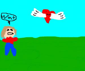 Man amazed by flying heart