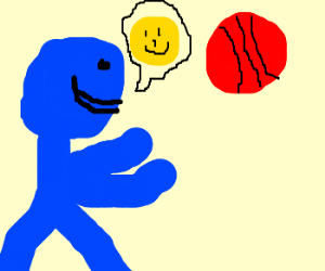 blue man appreciative for the red ball