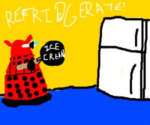 Dalek needs a fridge to save melting ice cream