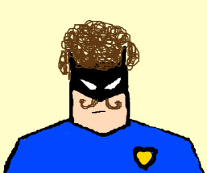 Afrobatman with a moustache is a cop