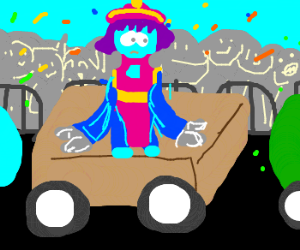 leilei rides on a float in parade