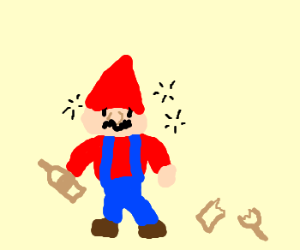 Gnome Mario is an alcoholic