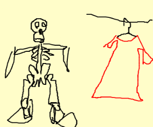 Skeleton can't find any clothes that fit