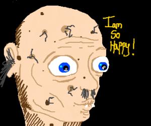 Bald boy is happy to be a monstrosity.