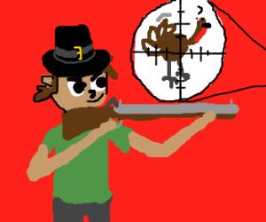 Pilgrim hunts turkey with blunderbuss