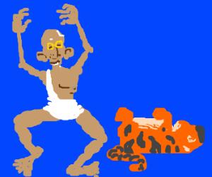 Gandhi K.O'd a tiger in boxing