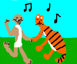 Ghandi dances with tiger