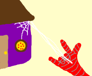 Spider man delivers a pizza