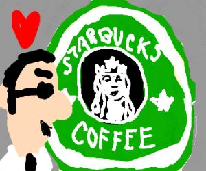 Trendy man in love with Starbucks logo