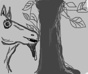 Horse with goatee eats tree happily