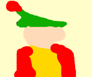 Mario gets drunk, hat was replaced w/ gnomehat