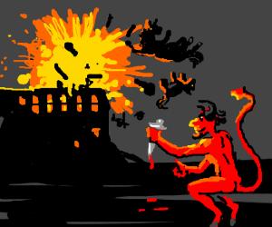 evil = devil, bludy knife, explosions, ponies