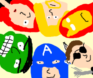 Closeup on the Avengers group