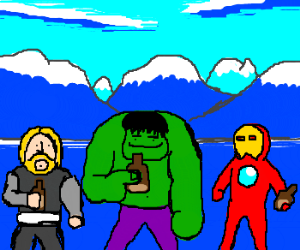 The Avengers chill out on the planet of blue.