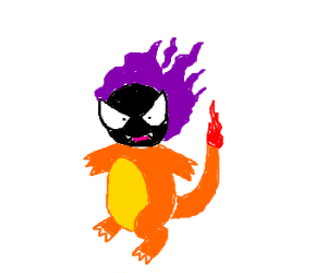 Gastly taking over charmander's body