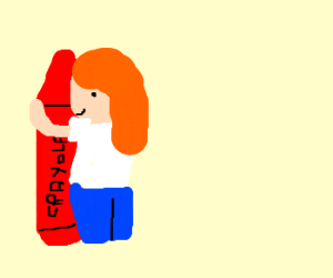 Red crayon and Red-haired person are BFFs