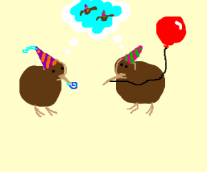 2 kiwi birds in party hats wish they could fly