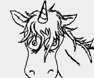 Crazed old unicorn stares into your soul