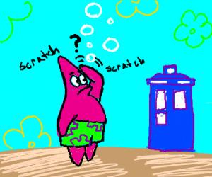 Patrick Star discovers the Tardis