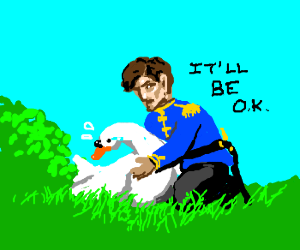 Prince Birdfoot consoles a goose