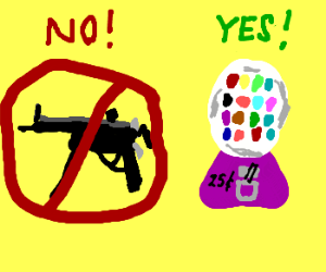 Stop the Machine Gun not the Gum Machine