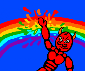 Devil messes up the rainbow... Nice work.
