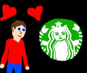 Man in love with starbucks logo