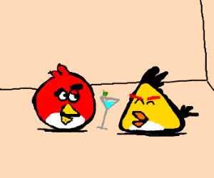 Not-so-angry birds share a martini at a party.