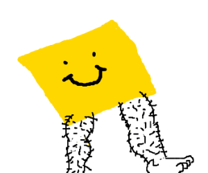 Draw a post it note with hairy legs