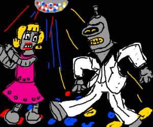 Bender and date boogie under a disco ball