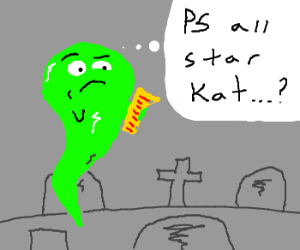 """Green ghost reads note: """"PS all star kat"""""""