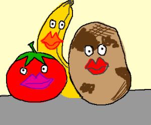 Fruits and Veggies wear lipstick