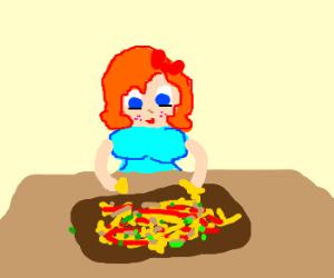 Redhead girl eating nachos