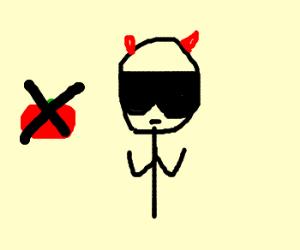 Evil smug man has no tomato