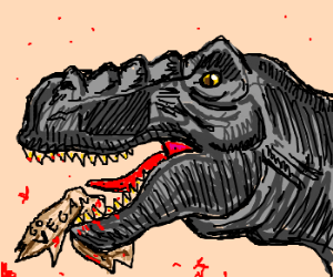 Predatory dinosaur eats vegetarian protestor