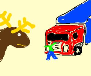 Moose watches man get hit by 18 wheeler