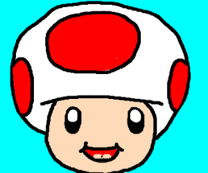 Headshot of Toad from the Mario franchise.
