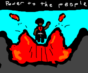 black panther rising out of lava