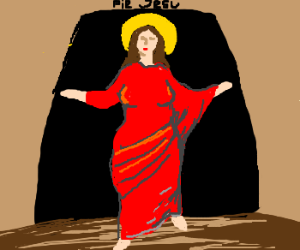 female jesus in red dress rises from the dead