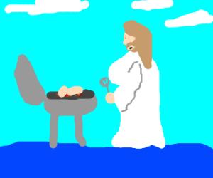 Large-breast Jesus makes dinner walks on water