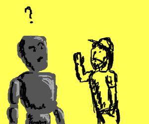 Rockman questions human.