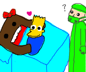 Domokun gives birth to a baby Bart Simpson