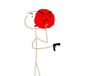 man w/angry mask has a gun