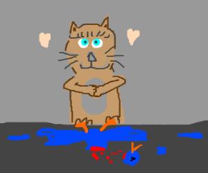 Aww... The cute little kitten killed a bird!