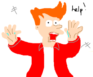 Philip J. Fry trapped in a panel