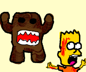 Domo chases after a bloody Bart Simpson