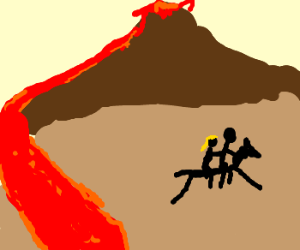 Stick figure couple ride away from lava