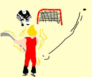 Saiyan is really bad at ice hockey.