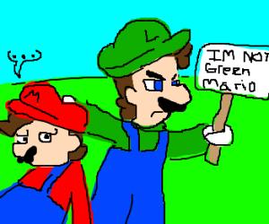 Luigi throws strike using Mario