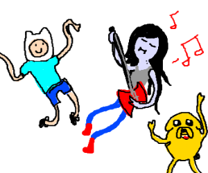 Marceline is rocking out with Finn and Jake